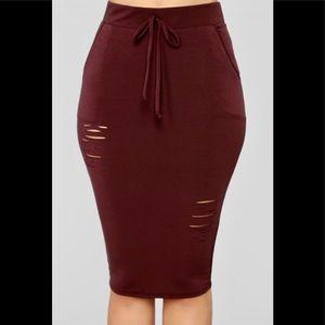 🆕Fashion Nova Casual Lover Skirt - Burgundy